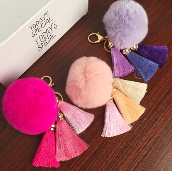Free Shipping! REAL Rabbit Fur Ball Plush Fur Key Chain POM POM Keychain Tassel Pompom Car Bag Keychain Key Ring Pendant Jewelry(China (Mainland))
