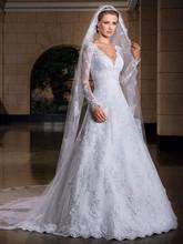 Long Sleeve Lace A Line Wedding Dresses V Neck Robe De Mariage Vestido de casamento Novia Custom Made(China (Mainland))