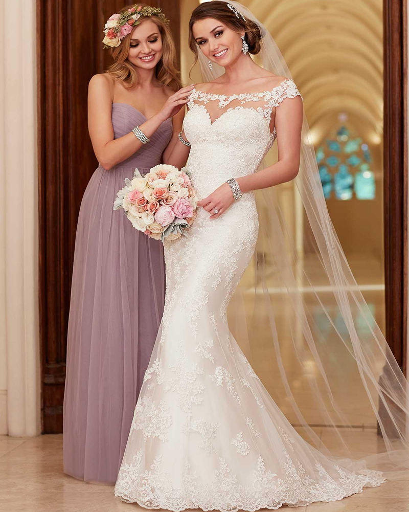 Affordable Wedding Dresses New York : Stella york wedding dresses scoop neck appliqued lace and tulle