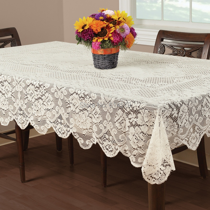 Essential Home Buckingham Round Vinyl Lace Tablecloths Ivory Or White Vintage Lace Tablecloth 70 Inch 52x70 Inch 60x84 Inch 102(China (Mainland))