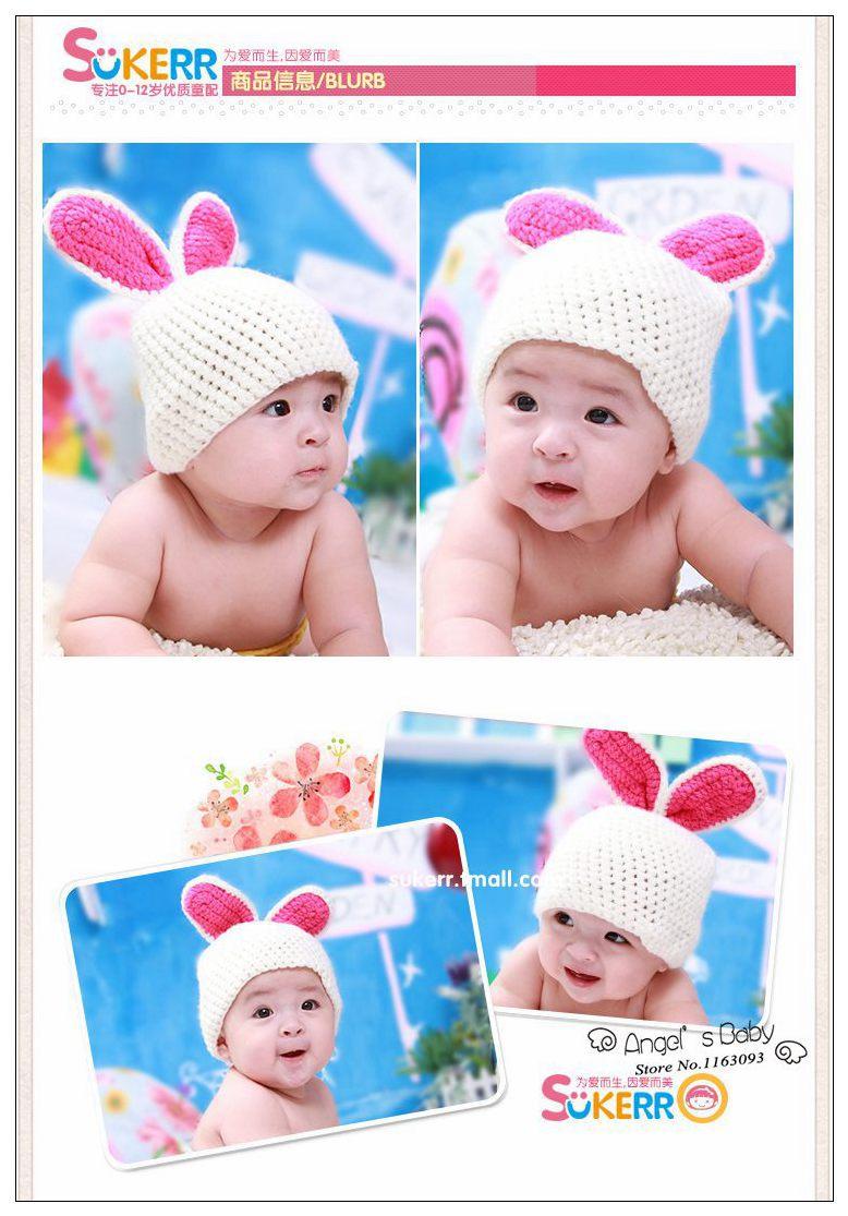 Hot Pink Crochet Baby Rabbit Hat,Knitted Animal Beanies Caps,Cute Kids Hat,Handmade Toddler Caps,#3C2614-2(China (Mainland))