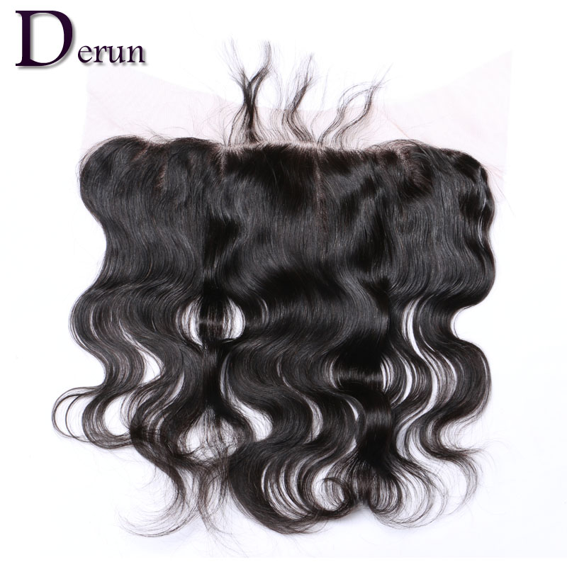 8A Brazilian Lace Frontal Closure with Baby Hair 13x4 Body Wave Human Hair Ear to Ear Full Frontal Lace Closure Bleached Knots(China (Mainland))