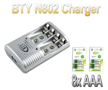 8PCS/LOT BTY AAA Ni-MH Rechargeable Battery Pack 1350Mah Up To 1100 Cycle+802 BTY EU charger