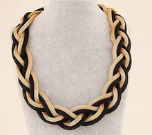 Fashion Choker Necklace Golden And Black Collar Necklace High Quality Cheap Statment Necklcaes Wholesale Jewelry(China (Mainland))