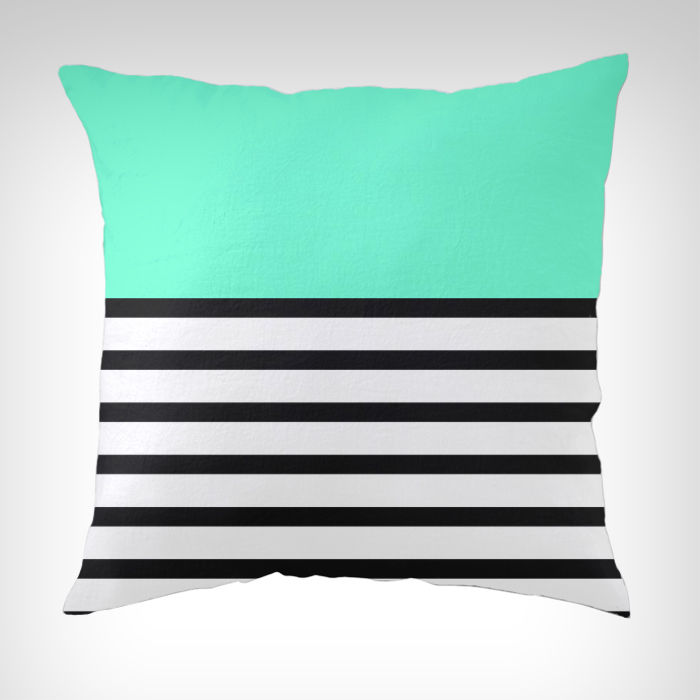 Black And White Decorative Pillow Cases : Tiffany Blue Decoration Turquoise Mint Blue Black and White Striped Throw Pillow Cases Cushion ...