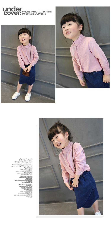 Children's wear long sleeved shirt girl female baby autumn cotton velvet doll without plaid shirt shirt collar A504