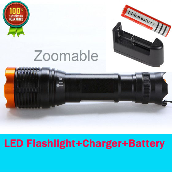 Zoomable 2000Lm UltraFire CREE XML-T6 LED Flashlight Torch Adjustable focus + Rechargeable 18650 Battery + Battery Charger<br><br>Aliexpress