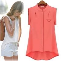 blusas femininas White Bluse camisas woman tops summer vestidos blouse plus size short sleeve chiffon shirt ropa mujer T002
