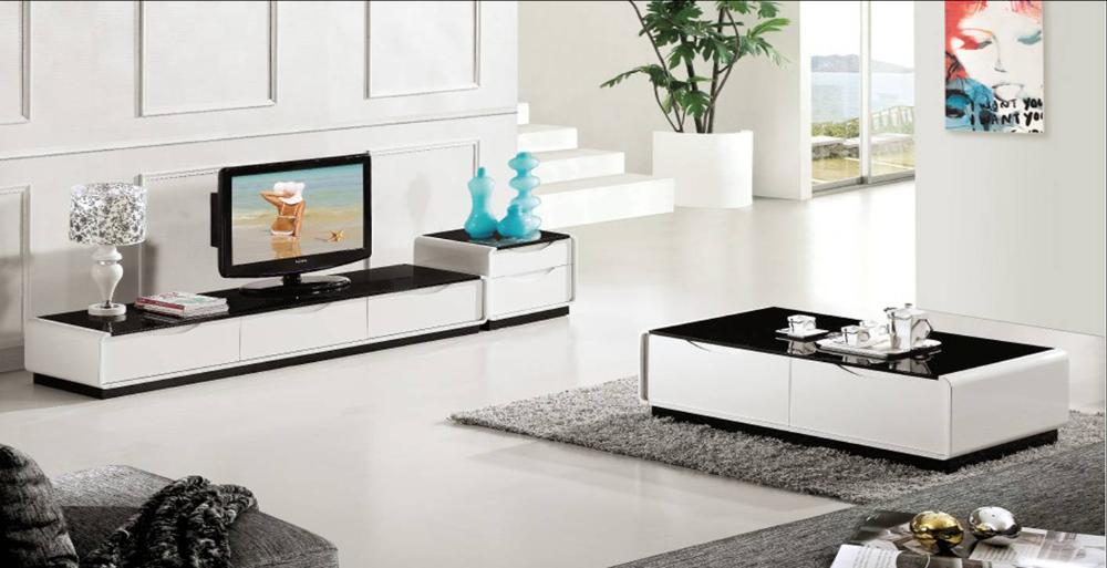 Drawer + Table + TV Cabinet Set, Smart Piano Paint Wood Furniture, Classic Black and White Duration Home Set YQ122A<br><br>Aliexpress