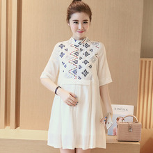 2016 new summer maternity dresses embroidery women's dresses pregnancy dresses maternity clothing summer clothing 16576