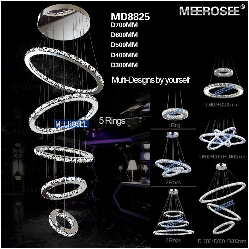 Modern 5 Rings Crystal LED Ceiling Light Fixture LED Crystal Lighting for stairs staircase hotel villa Hallway Porch Lighting(China (Mainland))