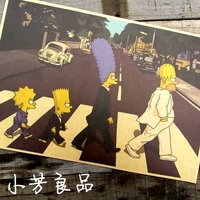 Vintage Simpson On the Road Cartoon Paper Wall Posters Decoration 30X42 CM BL-279