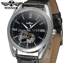2015 ganador marca relogio reloj automático negro dial marco plateado con una aleación genuino correa envío gratis WRG8023M3S2