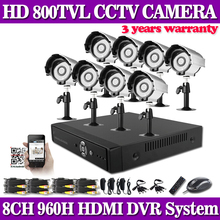 HD 1080p 960H 8CH smartphone view security video surveillance CCTV System onvif IP NVR DVR kit 800TVL outdoor security camera