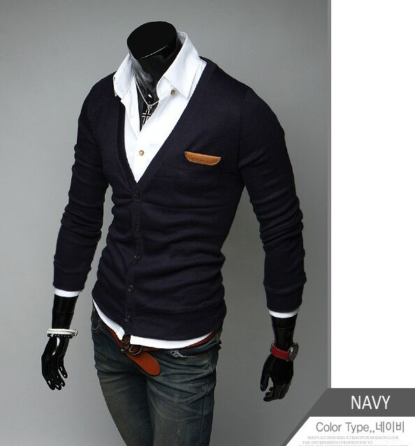 2016 new arrival Men's clothing slim thin Metrosexual cardigan male Solid color V collar long-sleeve sweater & jacket in 8 Color(China (Mainland))