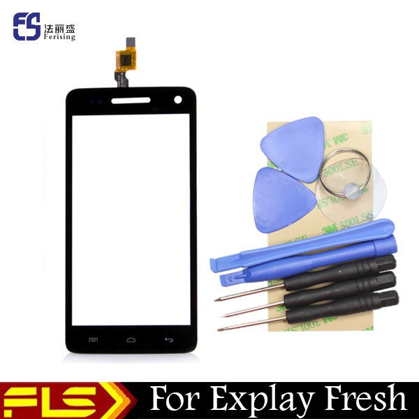 Front lens High definition Glass panel Capacitive Touch Screen For Explay Fresh sensor black color touchpad + free gift tools(China (Mainland))
