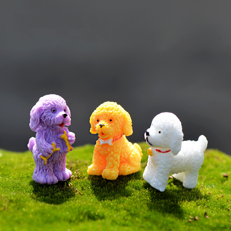 Resin cute puppy/dog/Poodle model home animal figurines Toys miniatures/terrarium mini fairy garden DIY accessories ornaments(China (Mainland))