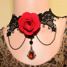 Buy New Gothic Black Lace Red Rose Choker Necklaces & Pendants Women Accessories Collar Statement Necklace Tassel Chain for $1.34 in AliExpress store