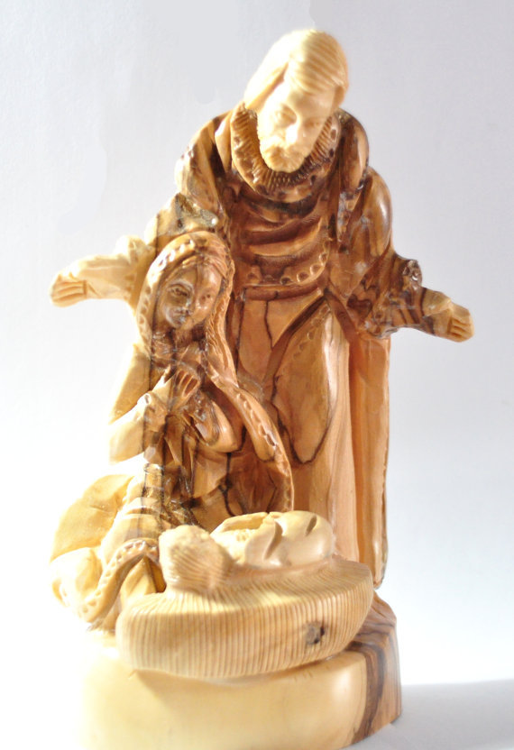 Free shipping vintage nativity set Olive wood carved Christmas tree nativity set Holy family Statue Holy land(China (Mainland))