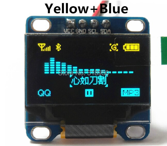 """Free shipping Yellow, blue double color 128X64 OLED LCD LED Display Module For Arduino 0.96"""" I2C IIC SPI Communicate(China (Mainland))"""