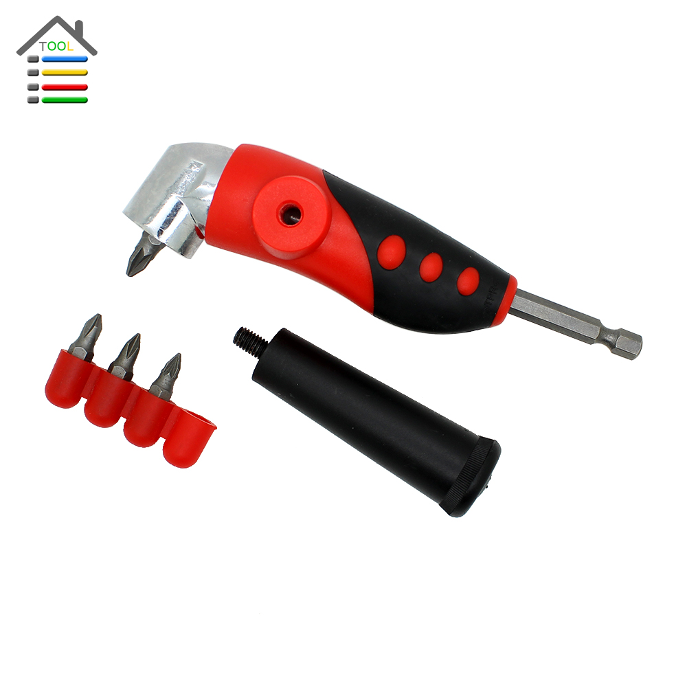 2015 New Right Angle Bit Driver Adapter Set with 4pc Screwdriver Bits Handle for Electric Power Drill Tool<br><br>Aliexpress