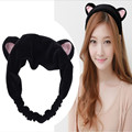 2016 New Design Korea Plush Rabbit Ear Headband Women Cat Ear Scrunchy Width Bath Kawayi Hair