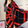 190cm 65cm classic Luxury Brand Cashmere Scarf Women warm Wool Pashmina Big Size plaid blanket Cloak