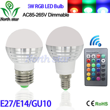 E27 E14 gu10 LED RGB Bulb lamp AC110V 220V 5W LED RGB Spot light dimmable magic Holiday RGB lighting+IR Remote Control 16 colors(China (Mainland))