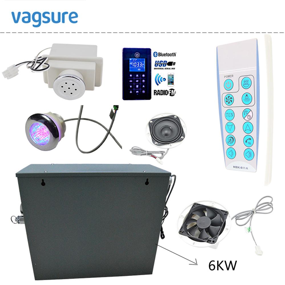Waterproof IPX5 new bluetooth steam controller MP3USB/ FM radio LED therapy lighting 6KW shower steam generator sauna(China (Mainland))