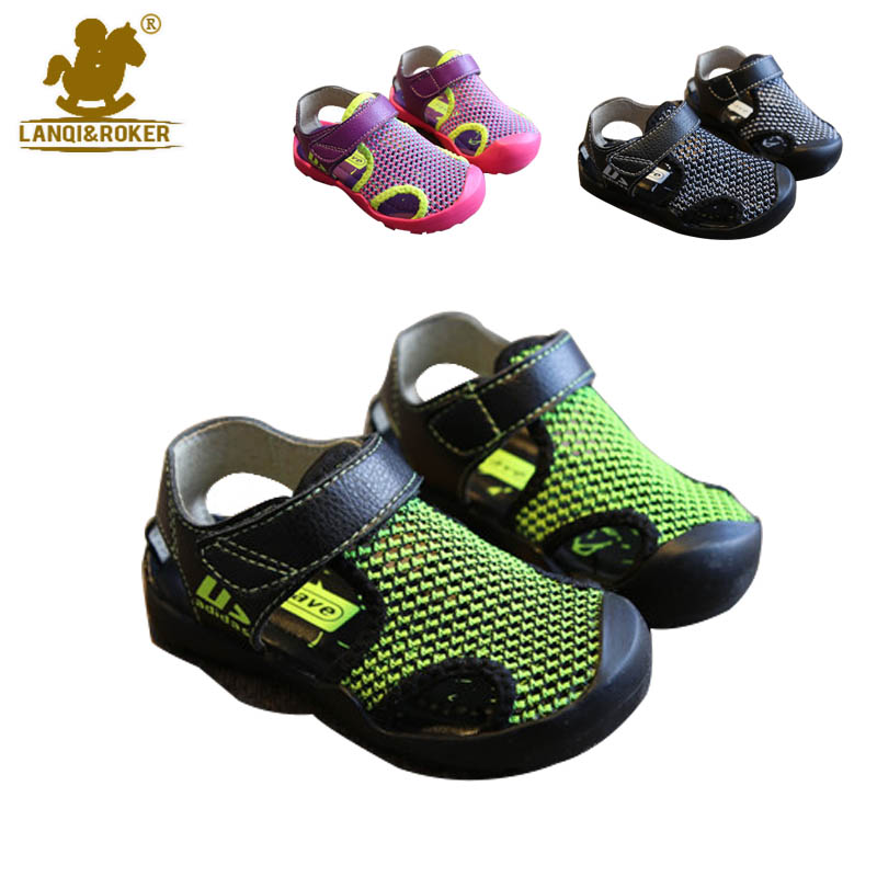 Kids Breathable Mesh Summer Toddler Girls Sandals 2016 Soft Baby Boys Shoes Child Closed Toe Flat Sandalet 3 colors Size 21-25(China (Mainland))