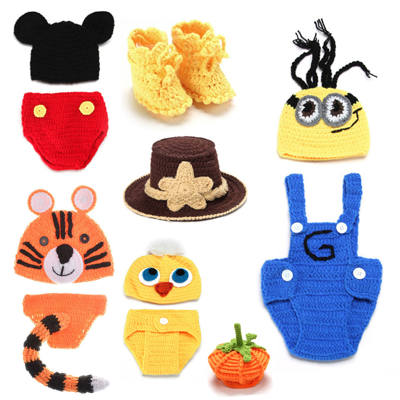 High Quality!! Cartoon Character Newborn Photography Props Comfortable 0-12 Month Newborn Crochet Outfits Baby Photography Props(China (Mainland))