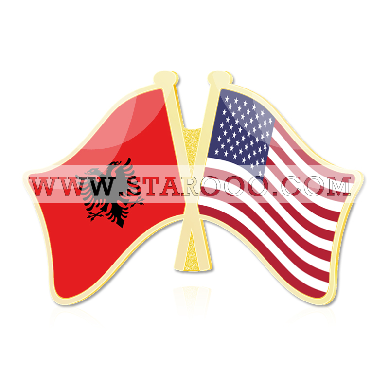 Albania and United States United States yacht Uruguay Uzbekistan Vanuatu Vatican City State Crossed Flags Lapel Pins(China (Mainland))