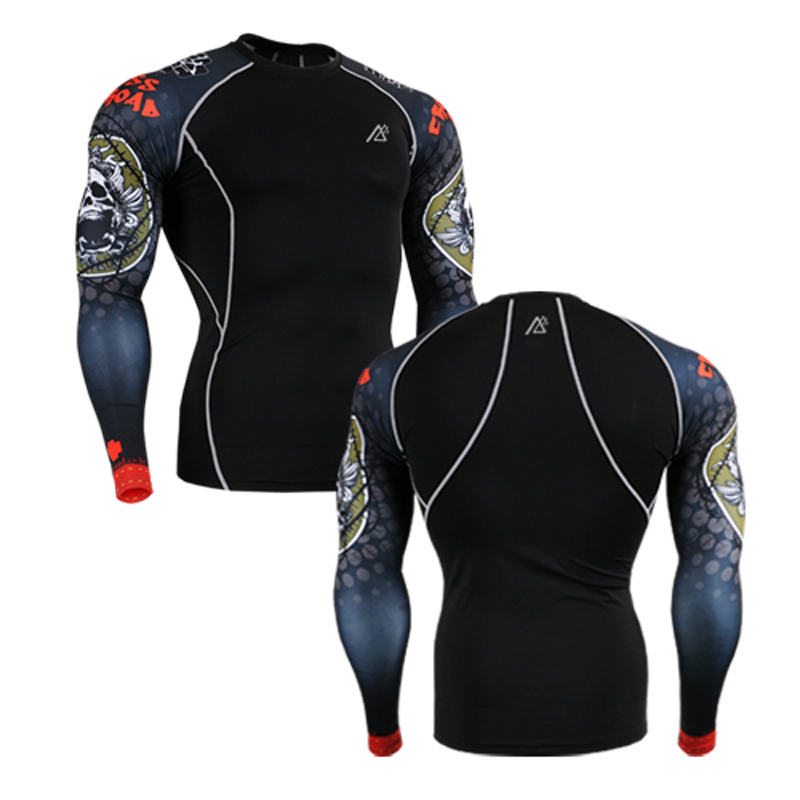 Men s Compression Shirts Fashion Sides Long Sleeves Prints Fitness Exercise Training Running Tights T shirt