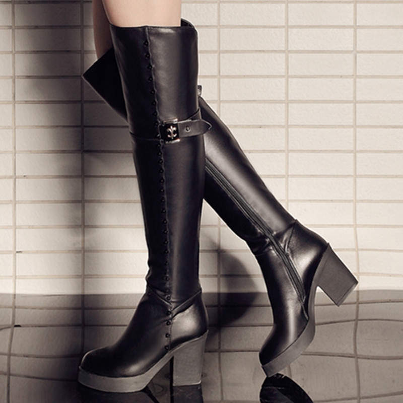 Здесь можно купить  New  plus size 34-40 zipper rivets over the knee boots round toe platform genuine leather thick high heels women winter boots   Обувь