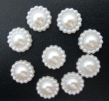 50 pieces/lot white Half plastic sunflower Pearls Gems Craft Decoration DIY Laptop B033