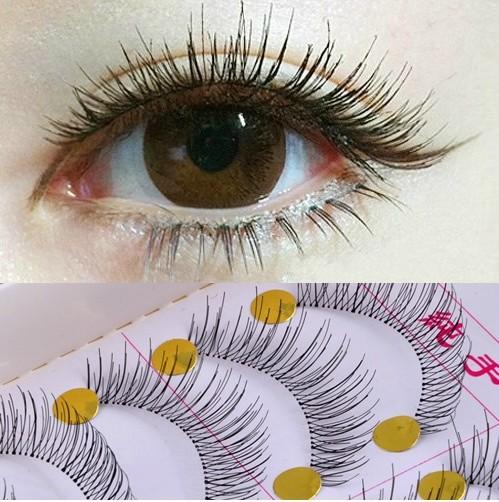 1set/10 Pairs Handmade Fake False Eyelash Lashes cilios beauty Natural Transparent Stem Black Retail Box - Liu Factory Manufacture store