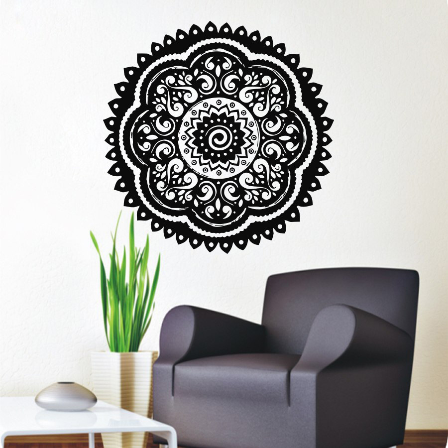 Believer home decor wall stickers indian mandala pattern vinyl art wall decals murals bedroom in - Wall decor stickers online shopping ...