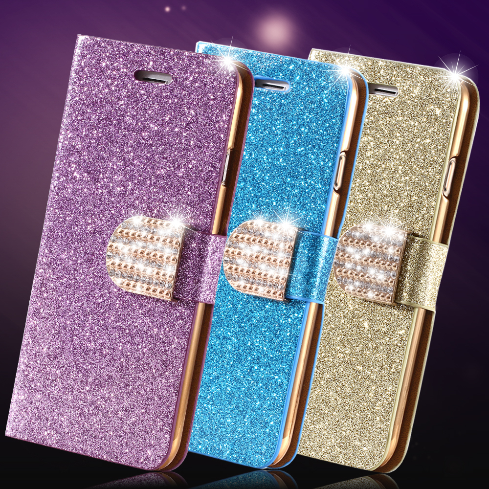 Stand Wallet Style Luxury Glitter PU Leather Flip Case For iPhone 6 Plus /6S Plus Diamond Buckle Phone Cover Bag For iPhone 6 6S(China (Mainland))