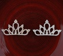 200pcs/lot 2Colors Vintage Boutique Rhinestone Crown For Baby Hair Accessories Flat Back Alloy Tiara Button For Enbellishment