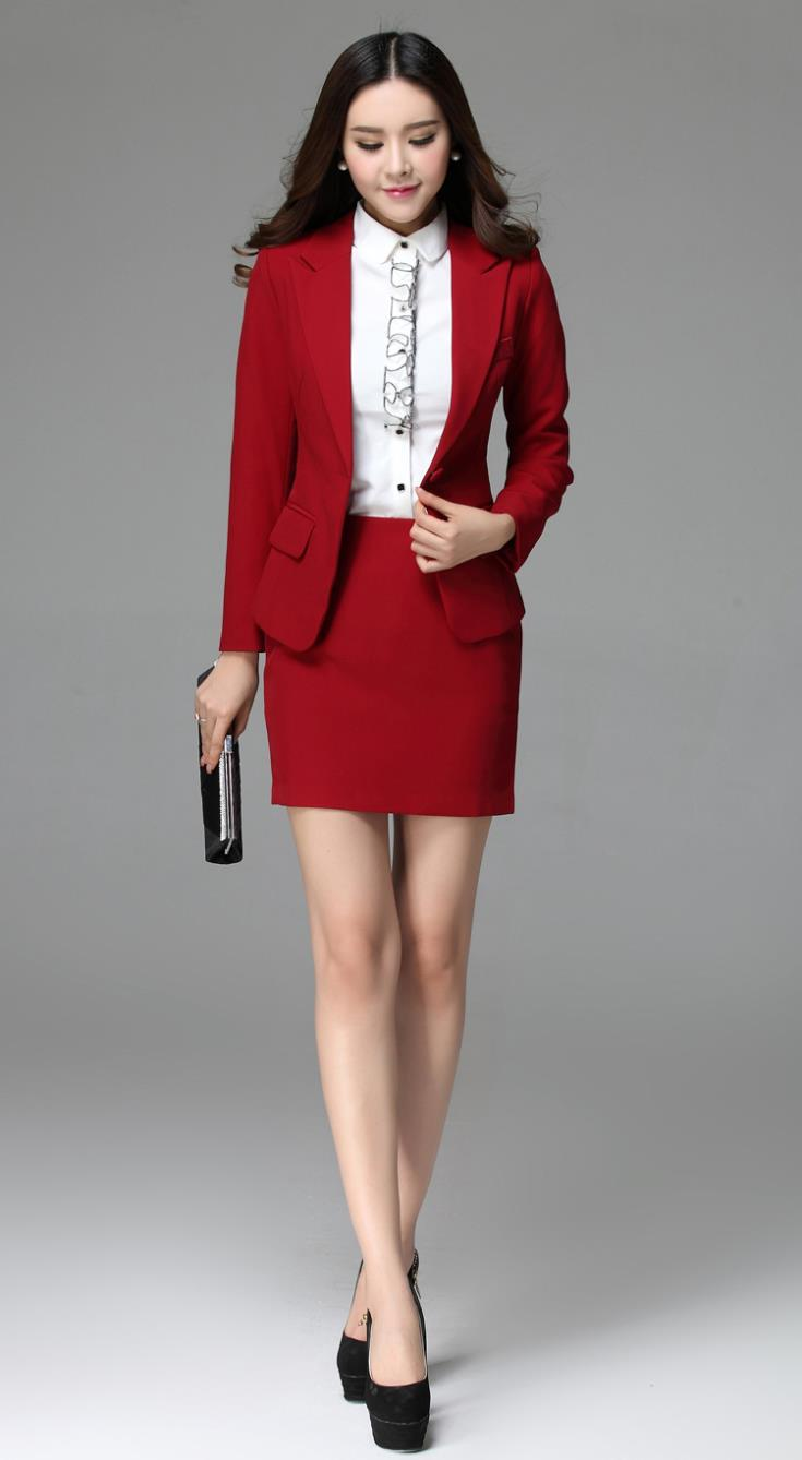 red womens suit dress yy