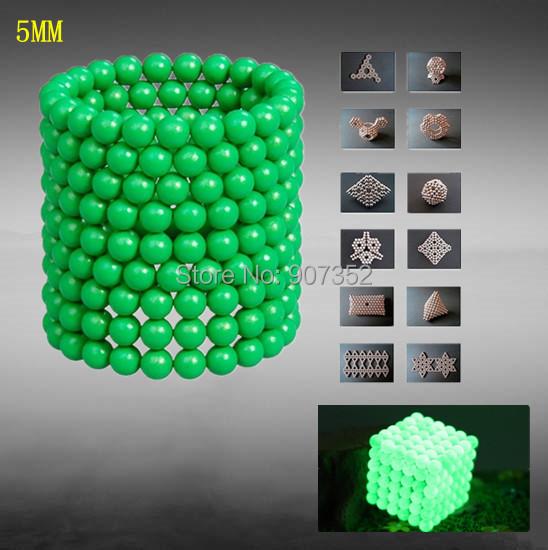 New DIY Generation Glowing Green Buckyballs Neocube Magic Cube 216 pcs 5mm Magnetic Balls gift Toy Free Shipping(China (Mainland))