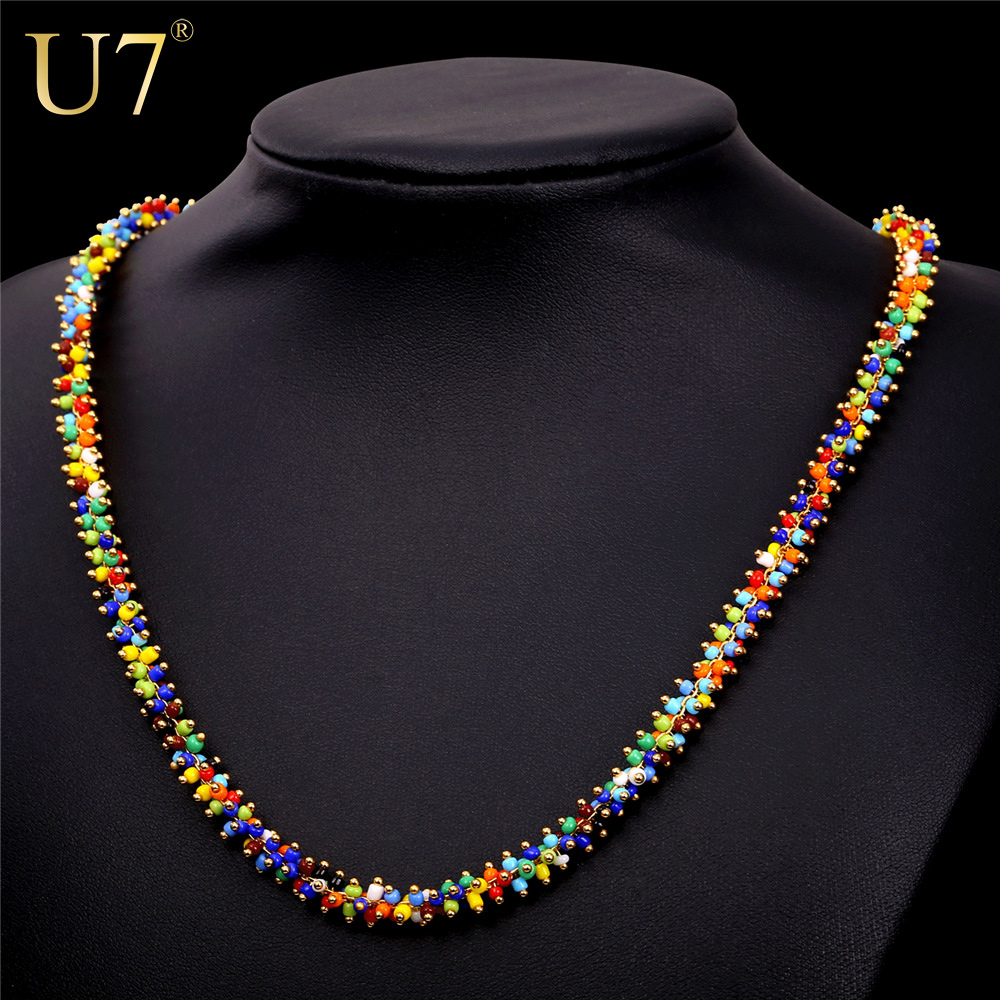 U7 African Coral Bead Necklace Women Fashion Jewelry Wholesale Trendy Gold Plated 2 Size Colorful Bead Necklaces Pendant N470(China (Mainland))