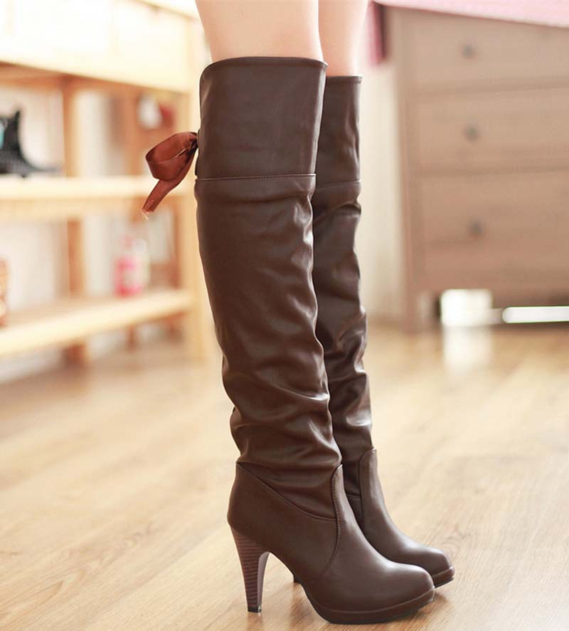 brown new fashion high heels knee high boots bow