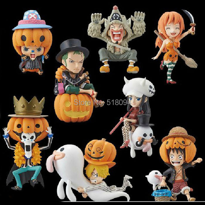 Anime One Piece Luffy Zoro Nami Robin Sanji Chopper Halloween Ver. PVC Action Figure Model Toys Dolls 8pcs/set OPFG252(China (Mainland))