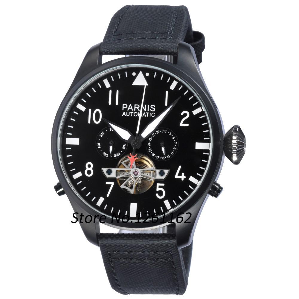 47 мм Parnis Большой Poilt Стиль Черное PVD Дело Белый Цифры Seagull Автоматические мужские Часы PA4713PBW
