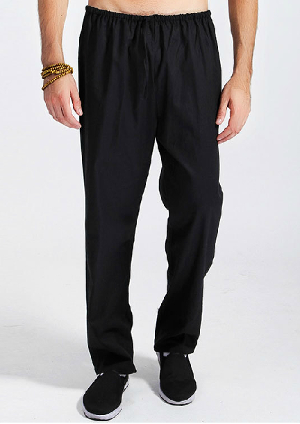 Black Linen Trousers Mens Black Chinese Men's Linen