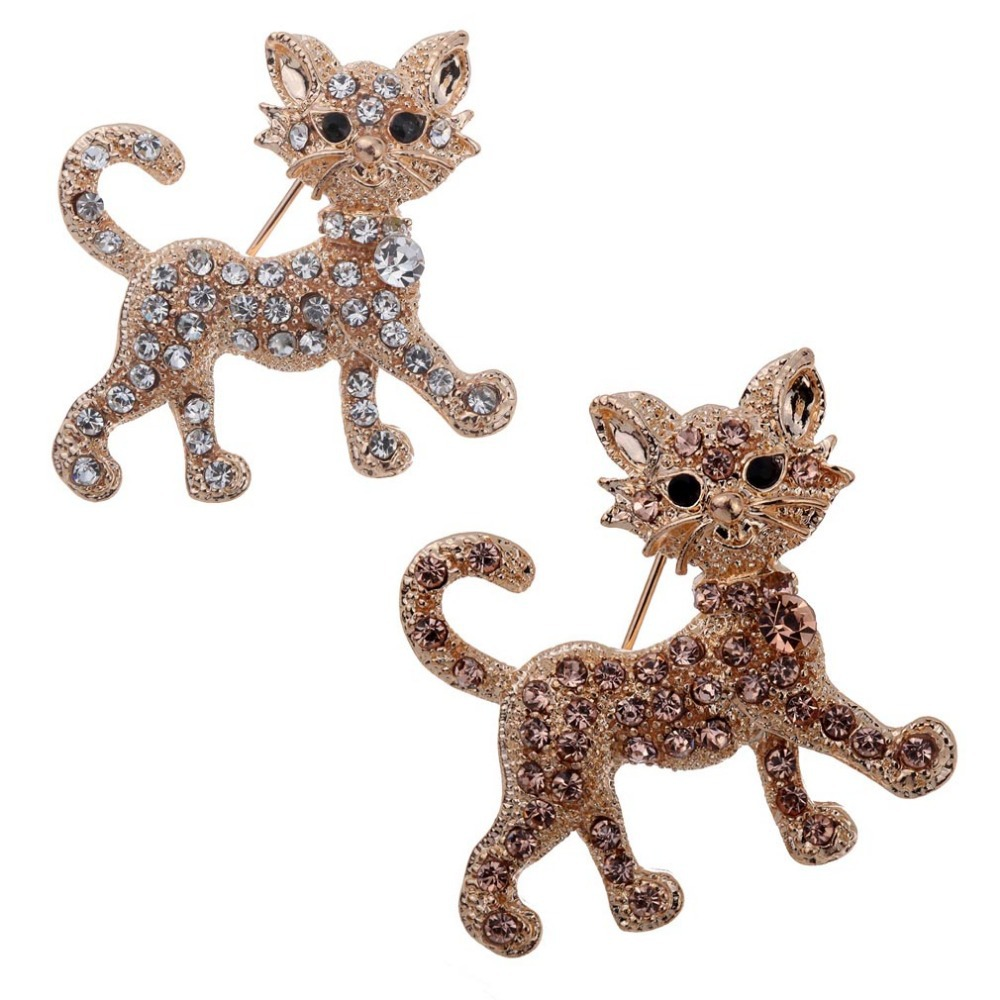 Hot Fashion Champagne Cat Design Brooch Pin Jewelry Rhinestone Inlay Prom For Wedding(China (Mainland))