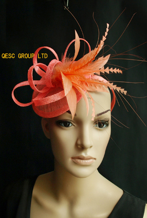 Coral pink sinamay fascinator hat for Kentucky derby,wedding,party,melbourne cup,ascot races.(China (Mainland))