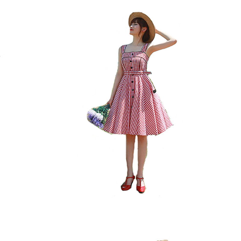 2016 new style summer dress Roman Holiday Pastoral Lolita red plaid Preppy Square Neck spaghetti strap dresses - Specialty trading company fairyland store