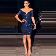 R70168 популярной тенденцией с коротким рукавом кружева платья элегантный дизайн спинки платье темно-синий мода оболочка сексуальная клуб платье 2015